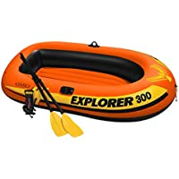 Intex Explorer 300 Compact Inflatable Fishing 3 Person Raft Boat