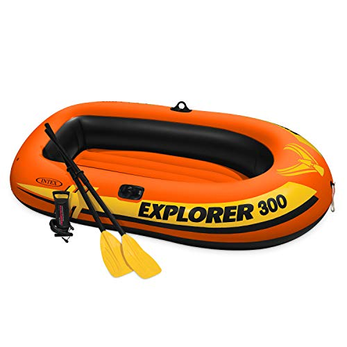 Best Price Intex Explorer 300, 3-Person Inflatable Boat Set with French Oars and High Output Air Pum...