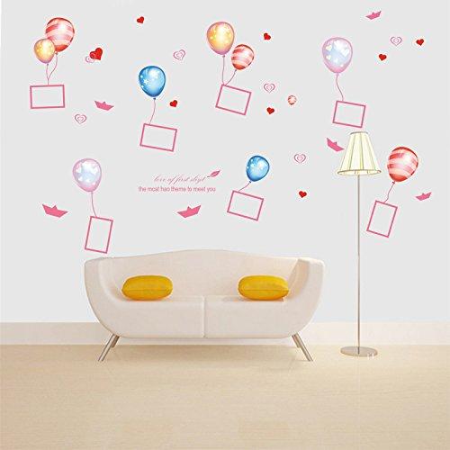 Mznm DIY Ballon fotolijst Hartjes Vlinder Muurstickers voor Kinderkamers Slaapkamer Woonkamer Stickers Koelkast Sticker