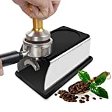 Yosoo Stainless Steel Coffee Tamper Stand Coffee Powder Maker Rack Silicone Tamping Mat Coffee Tampers Tool Accessory Black
