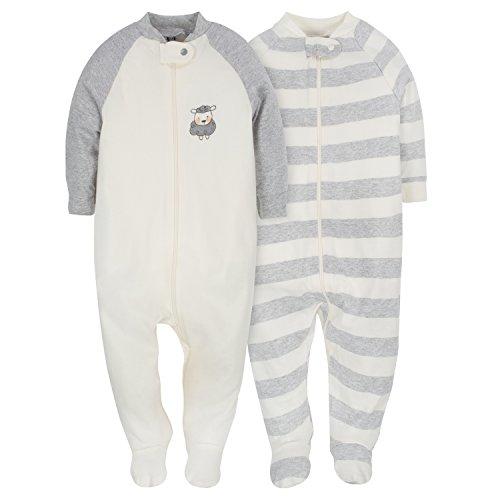 Gerber Baby 2-Pack Organic Sleep 'N Play, Ivory/Grey, 3-6 Months