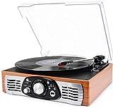 Platine Vinyle 1 BY ONE Tourne Disque Transportable Immitation Bois, 3 Vitesses avec Enceinte Interne, Prise USB pour MP3, AUX in et Prise RCA