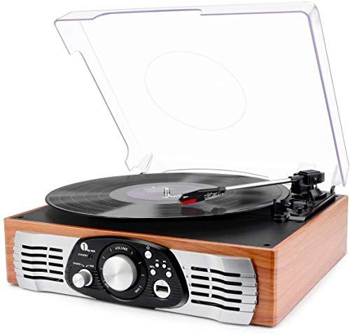 1 BY ONE Schallplattenspieler Riemengetriebener Plattenspieler mit Eingebautem Lautsprechern und Vinyl to MP3 Funktion, im Klassischem Design, Naturholz (471EU-0003)