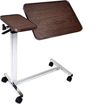 Medical Deluxe Tilt Top Overbed Bedside Table with Height Adjustment Feature  Hospital & Home Use