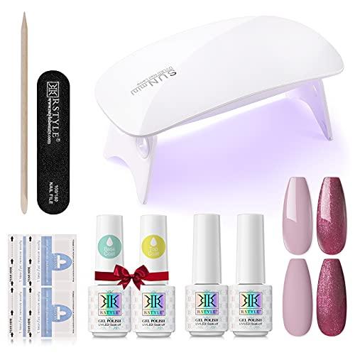 RSTYLE Kit Semipermanente Unghie, Smalto Semipermanente Kit Completo Professionale 2 coloris + 2 Base e...