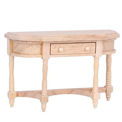 Mini muebles de madera escritorio mesa de casa de muñecas muebles de casa de muñecas casa de muñecas de madera mesa semirredonda para casa de muñecas(Half round table)