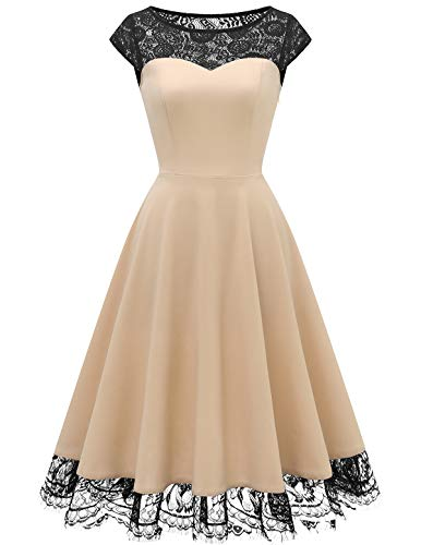 HomRain Damen 1950er Vintage Rockabilly Swing Kleid Elegant Spitzenkleid Cocktail Ball Party Kleid Champagne L