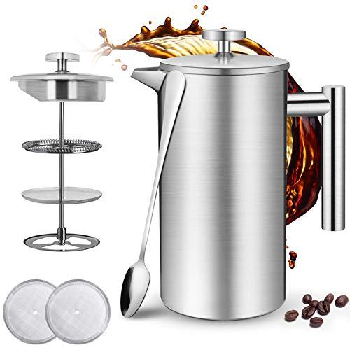 Kaffee French Press 1 Liter - Jaspik Thermo French Press aus Edelstahl, Doppelwandige Isolierte Kaffeebereiter Kaffeekanne inkl. 2 Ersatzsiebe & Löffel, Teebereiter Kaffeepresse für Camping, BPA frei