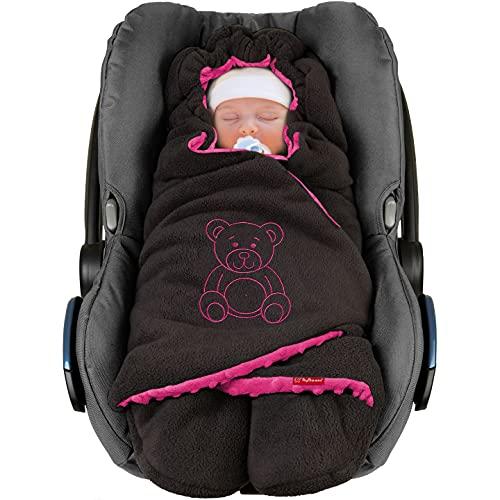 ByBoom Baby Copertina invernale avvolgente per il bebè'l'originale con l'orsetto', universale per ovetto, seggiolino auto, p.es. per Maxi-Cosi, Römer, per passeggino, buggy o lettino