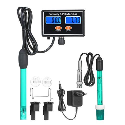 Kecheer 2-in-1-PH/Salzgehalt-Wasserqualitätsmonitor Multifunktionales pH- und Salzgehaltmonitor-Messgerät Meerwasser-Salzgehaltmonitor PH-Wasserqualitätstester Dual-LCD-Display