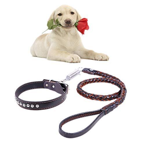 Qiuge Haustier-Leine Hundehalsband Hund Zugseil PU-Leder Verschleißfest Kuhfell Zugkraftgurt Hundehalsband Teleskophundeseil Geeignet for mittlere und große Hunde Golden Retriever ( Color : Black )