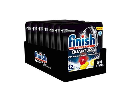 Finish, 84 Spülmaschinentabs, Quantum Ultimate, 7 Packungen mit 12 Tabs, Zitrone
