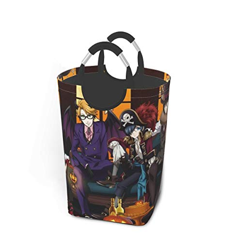 Black Butler Halloween Party Japan Animelarge Laundry Basket Bag with Handle for Washing Dirty Laundry, Foldable Dirty Laundry Basket Can Be Folded for Storage