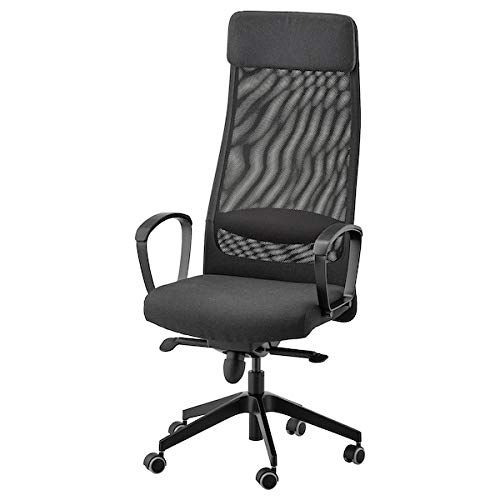 MSAMALL MARKUS Silla de oficina, Vissle gris oscuro, 62x60x129 cm, resistente y fácil de cuidar, sillas de oficina, sillas de escritorio, sillas, muebles, respetuoso con el medio ambiente.
