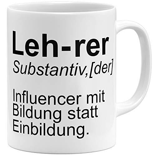 OM3® lustige Lehrer Tasse Influencer | Keramik Becher | 11oz 325ml | Beidseitig Bedruckt | Weiss