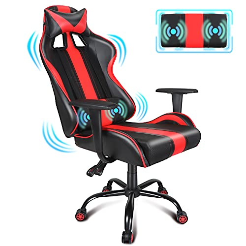 Massage Gaming Chair Red Luxury Racing Style Video Game Chair Sillas E Sport Computer Game Chairs with Ergonomic Lumbar Pillow and Headrest, Seat Height Adjustable Office Chair for Teens/Adults/Kids