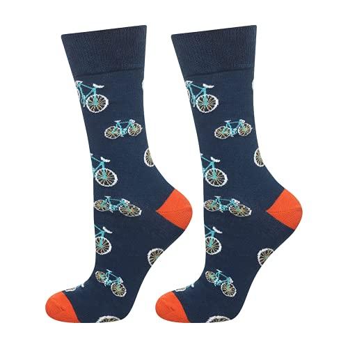 soxo lustige Herren Lange Socken | Größe 40-45 | Bunte Herrensocken aus Baumwolle mit witzigen Motiven | Besondere, mehrfarbig gemusterte Socken für Männer | Fahrrad