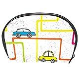 TIZORAX - Bolsa de cosméticos colorida con diseño de autobús y coches en línea