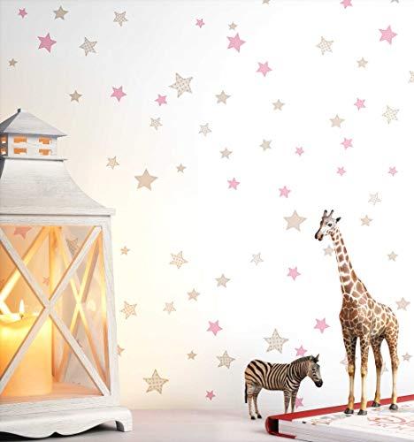NEWROOM Kindertapete beige Sterne Sternchen Kinder Vliestapete Vlies Kindertapete Kinderzimmer Babytapete Babyzimmer Romantisch