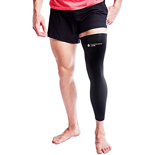 Copper Joe Compression Full Leg Sleeve - Guaranteed Highest Copper Content. Single Leg Pant- Fit for Men and Women. Support for Knee, Thigh, Calf, Arthritis, Running and Basketball (Large)