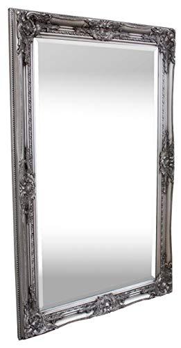 Rococo by Casa Chic - Silberner Shabby Chic Wandspiegel - 90 x 60 cm - Handgefertigter Spiegel - Barock - Groß - Massivholz - Antik Silber