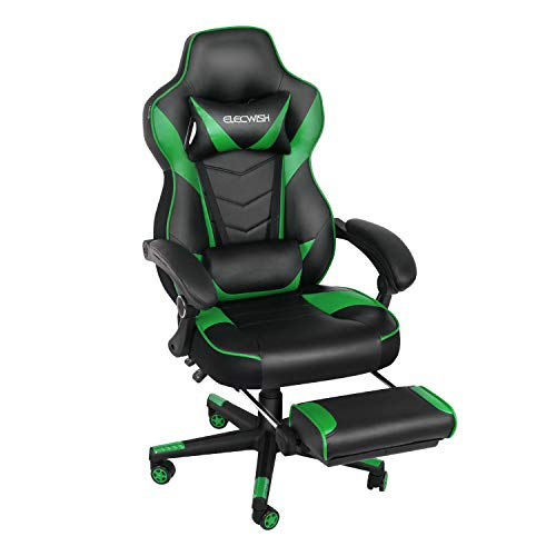 Ergonomic Computer Gaming Chair, Large Size PU Leather High Back Office Racing Chairs with Widen Thicken Seat and Retractable Footrest and Lumbar Support Video Game Chair 170 Degree Reclining (Green) Chairs Computer Dining Features Gaming Home Kitchen