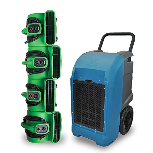 XPOWER Water Damage Cleanup & Restoration DIY Combo w/Commercial Grade Dehumidifier & Air Movers.