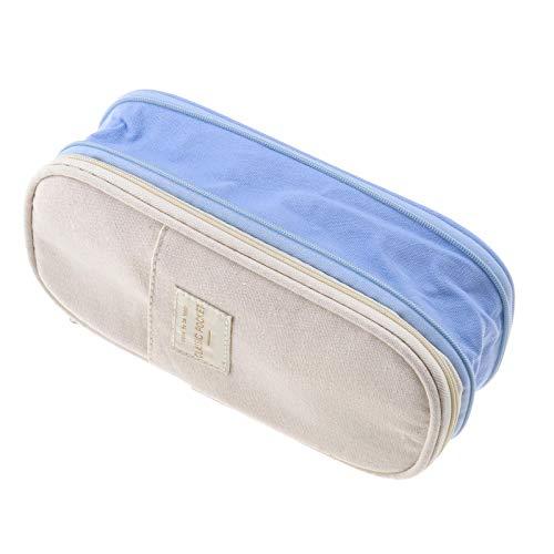 YINETTECH Pencil Case Bag Box Schattige Kawaii School benodigdheden Katoen Materiaal Rits Ivoor Blauw School benodigdheden Office Stuff make-up Reizen