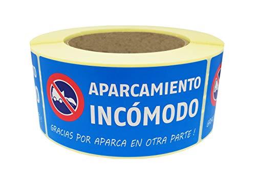 Selbstklebende Etiketten für APARCAMIENTO INCOMODO (spanische Version) – für schlecht geparktes Auto oder schlecht parktes Fahrzeug – FT 50 x 100 mm – auf Rolle/Rolle mit 500 Ex in Spenderbox