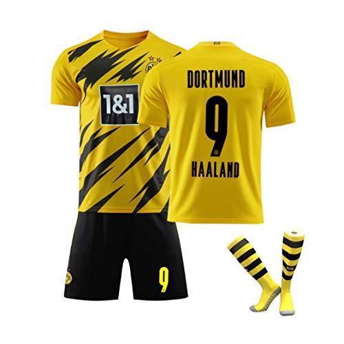 XMQW 2019-2020 Borussia Dortmund Haaland 9 Camiseta de fútbol Deportes Secado de réplica de Malla Y Transpirable para Verano Juegos de Entrenamiento,B,M