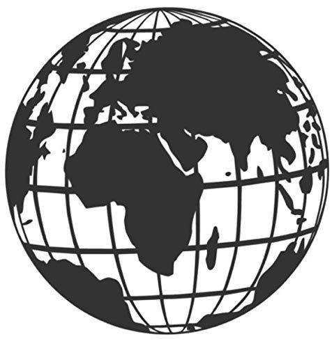 generisch Weltkarte Aufkleber Globus Wohnmobil in 20cm un 30cm World mit Gitter Weltkugel Aufkleber (282/1) (schwarz Glanz, 20x20cm)