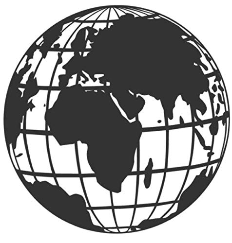 generisch Weltkarte Aufkleber Globus Wohnmobil in 20cm un 30cm World mit Gitter Weltkugel Aufkleber (282/1) (dunkelgrau matt, 20x20cm)