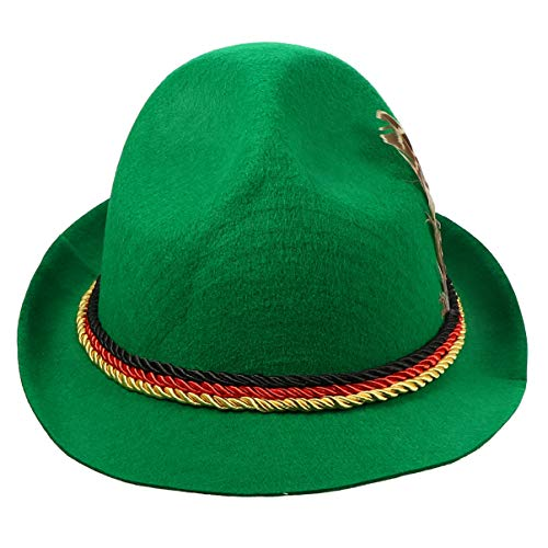 TomaiBaby Disfraz de Halloween Sombrero de Jazz Sombrero Fedora de Plumas Trilby Gorra Cubana Sombrero de Fiesta de ala Corta para Unisex Hombres Mujeres (Verde)