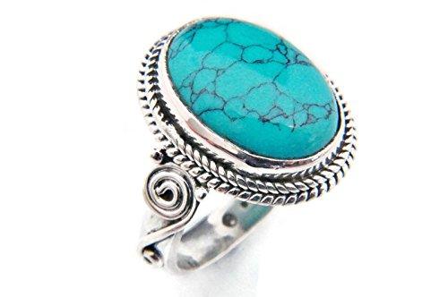 Türkis Ring 925 Silber Sterlingsilber Damenring blau grün (MRI 66-15), Ringgröße:54 mm/Ø 17.2 mm