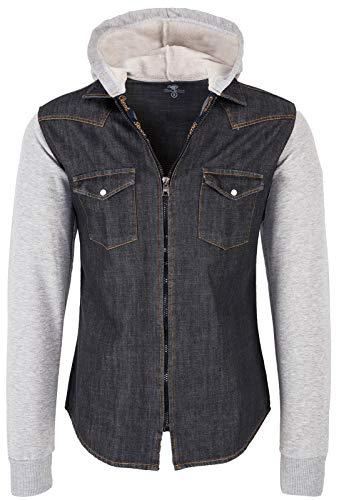 Rock Creek Herren Sweat-Jacke Jeanshemd mit Kapuze Denim Jeansjacke für Männer Slim-Fit Langarm Freizeit Hoodie Hemd Jacke H-232 Anthrazit 4XL