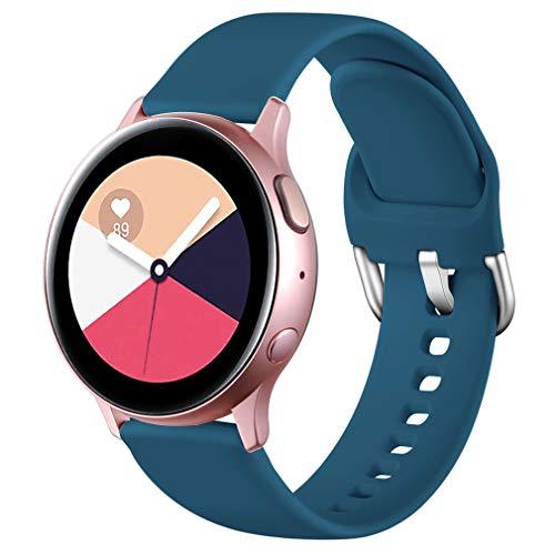 Wepro Correa Compatible con Samsung Galaxy Watch Active/Active2 40mm 44mm, Correa de Repuesto de Silicona Suave para Samsung Galaxy Watch 42mm/Watch 3 41mm/Gear Sport, Pequeño Azul Pizarra