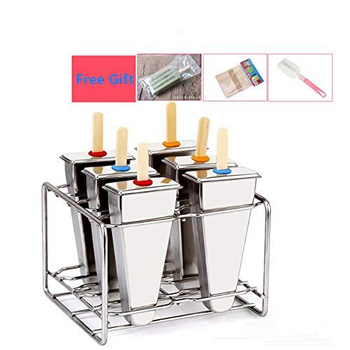 LaceDaisy Edelstahl Eiscreme-Form Popsicle Formen Set Eis Pop Macher Edelstahl Popsicle Form mit Stick Holder Eiscreme Form von 6 Für Sommer, Silbern#5