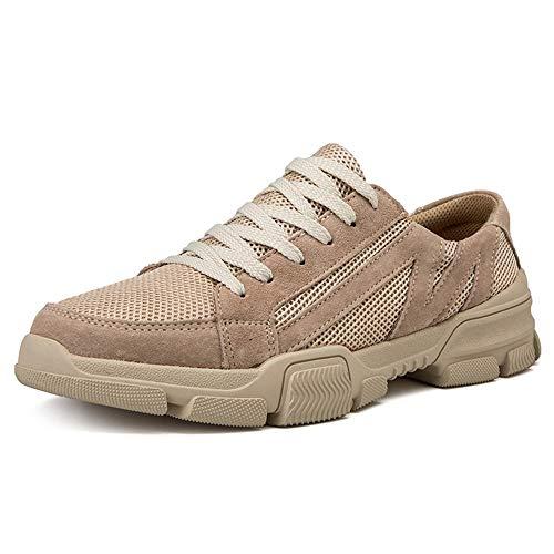 Ys-s Personalización de la Tienda Zapatos atléticos para Hombres Zapatos Deportivos Lace Up Estilo Material de Malla débil y Flexible Color sólido Cómodo y Ligero (Color : Sand, Size : 46 EU)