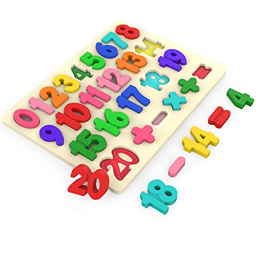 Kimuvin Wooden Number Puzzles, Preschool Educational Learning Board Toys for 3-5 Years Old Kids Toddlers