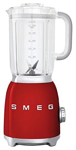 SMEG Batidora BLF01RDEU, 800 W, 0.45 litros, Metal, plástico, 4 Velocidades, rojo
