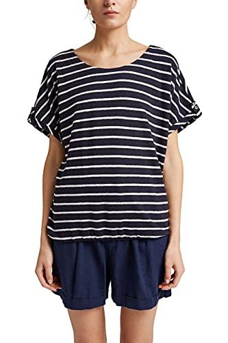 Esprit 991EE1K323 T-Shirt, 400/bleu Marine, L Femme
