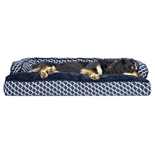 Furhaven Pet Dog Bed - Plush Faux Fur and Décor Comfy Couch Pillow Cushion Traditional Sofa-Style Living Room Couch Pet Bed with Removable Cover for Dogs and Cats, Diamond Blue, Medium