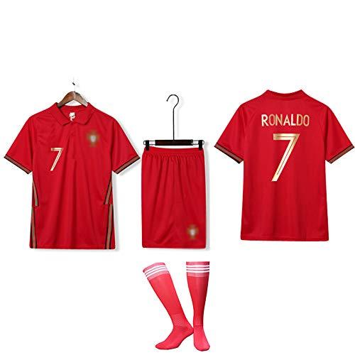 DDSC # 7 Ronaldo # 3 Pepe Fußball Trikot T-Shirt Trainings uniform Set Kinder Herren Nationalmannschaft Club Kurzarm Sportswear-Top Hemd Red(#7)-M