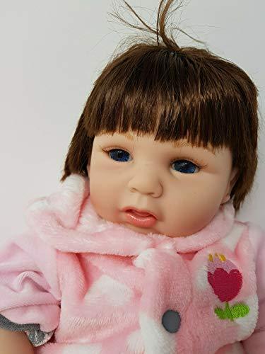 SAMMAR GIFTS Muñeca de vinilo suave de 22 pulgadas muñeca reborn muñeca y oso de peluche - muñeca de noche sueño niña