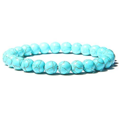 Piedra natural hecha a mano Turquesa africana Beads Pulsera Hombres Yoga Mala Joyería Verde Moss Moss Agates Pulsera con cuentas para mujeres Hombres ( Length : 21CM , Metal Color : Blue Turquoise )