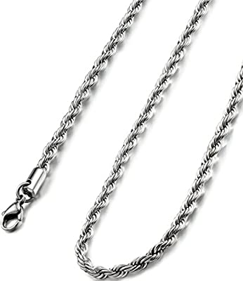 FIBO STEEL 4MM Stainless Steel Twist Rope Chain Necklace for Men Women,20 inches