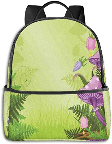 Schultasche doppelte Schwarze Rucksäcke, magische Landschaft mit Pilzen Blumen im frischen Wald Farne Cartoon Print, lässig Wandern Travel Daypack 12 '5' 14,5 'LWH