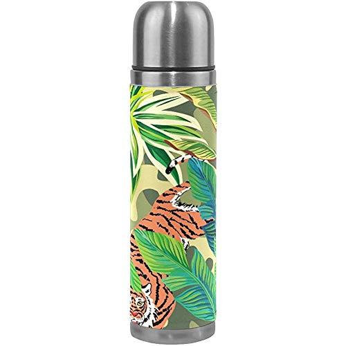 Ciciera-Shop Malerei Tropical Tigers Thermoskanne Sport Wasserflasche Töpfe Edelstahl Isolierte Isolierflasche Leder Eingewickelt (500 Ml)