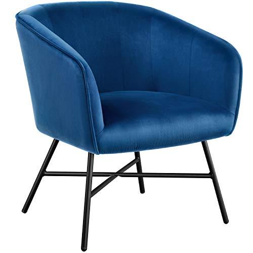 Yaheetech Esszimmerstuhl aus Stoff Retro Design Samt Stuhl Beistellstuhl mit Rückenlehne Sessel Metallbeine Blau