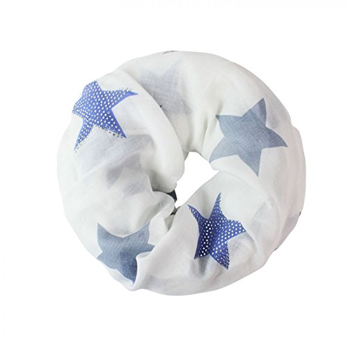 Glamexx24 Loop schal leichter Langschal Sterne Muster Schlauchschal Strass Tuch Viele Farben SC20170401, Weiss/Blau, Einheitsgröße